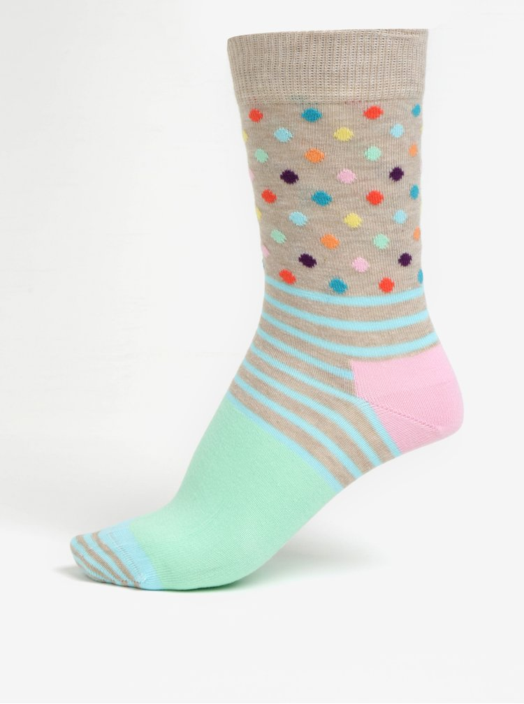 Zeleno-béžové dámské vzorované ponožky Happy Socks Stripes Dots