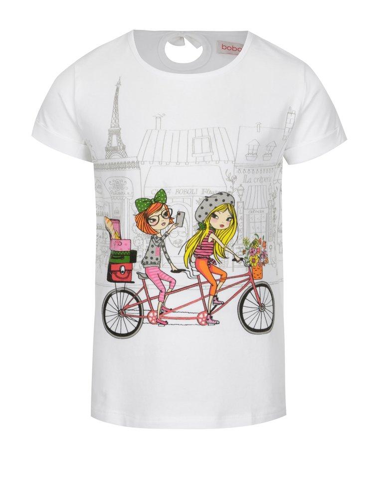 Bílé holčičí tričko s potiskem BÓBOLI