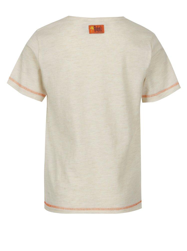 Béžové klučičí žíhané tričko s potiskem BÓBOLI