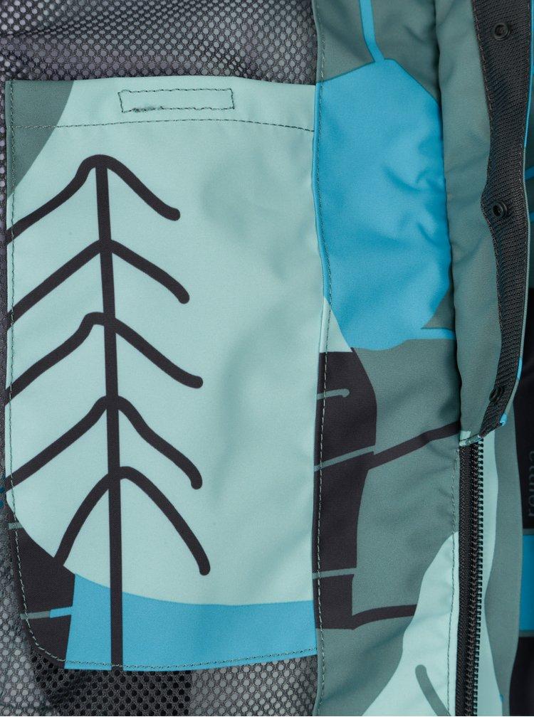 Zelená klučičí vzorovaná voděodolná bunda s kapucí Reima Korte