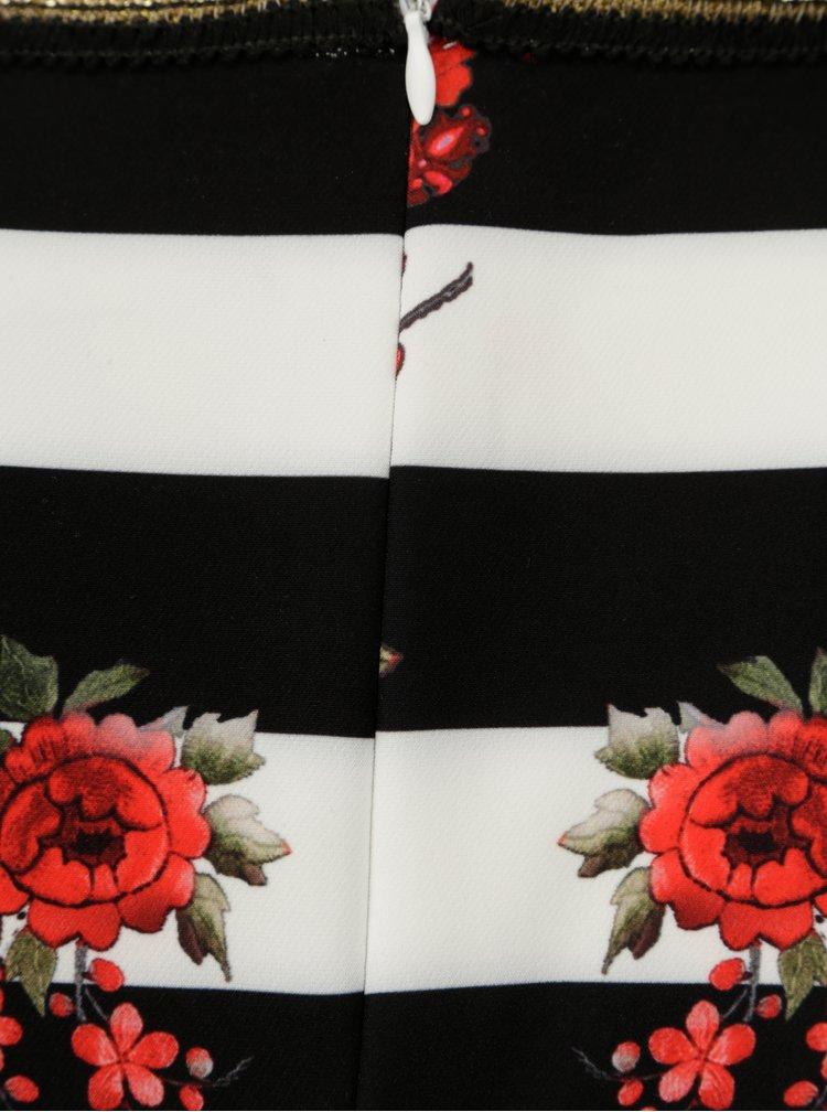 Krémové pruhované šaty s květovaným vzorem NISSA
