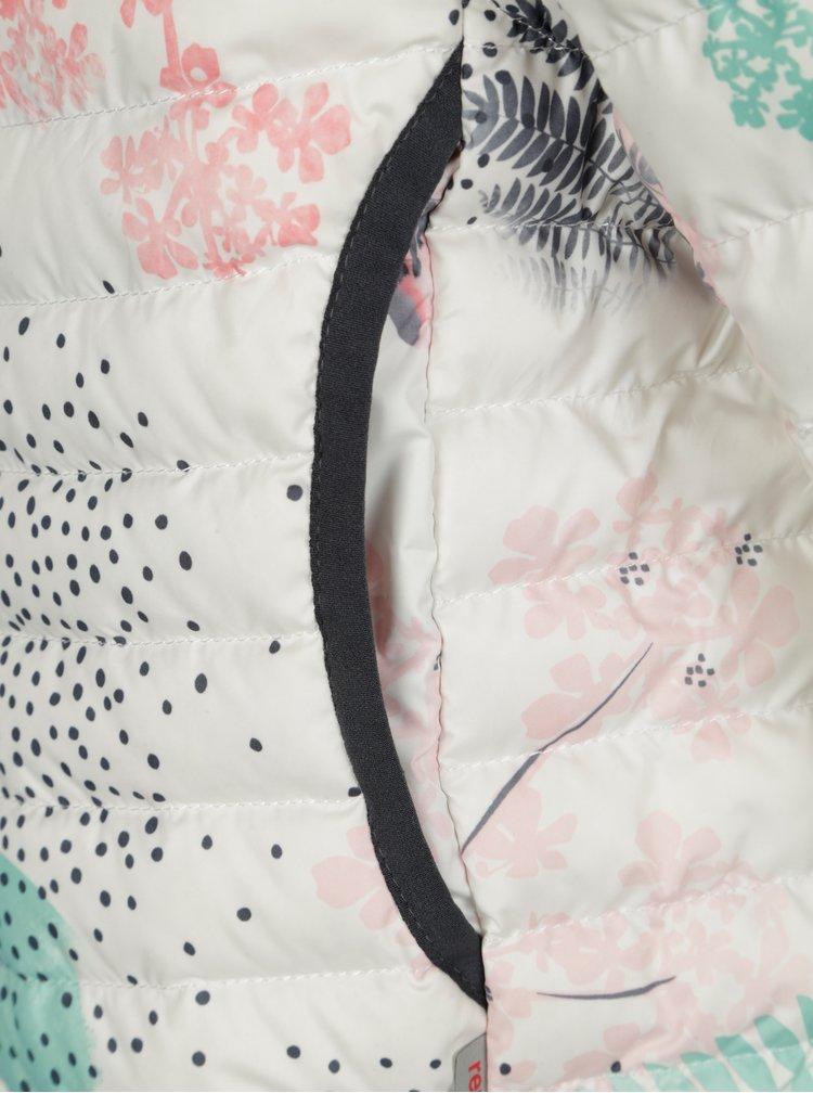 Krémová holčičí prošívaná péřová bunda s odnímatelnými rukávy Reima Float