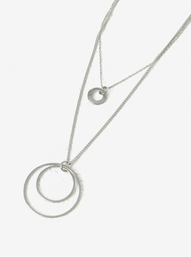 Dvojitý řetízek s přívěskem ve stříbrné barvě Pieces Gimma