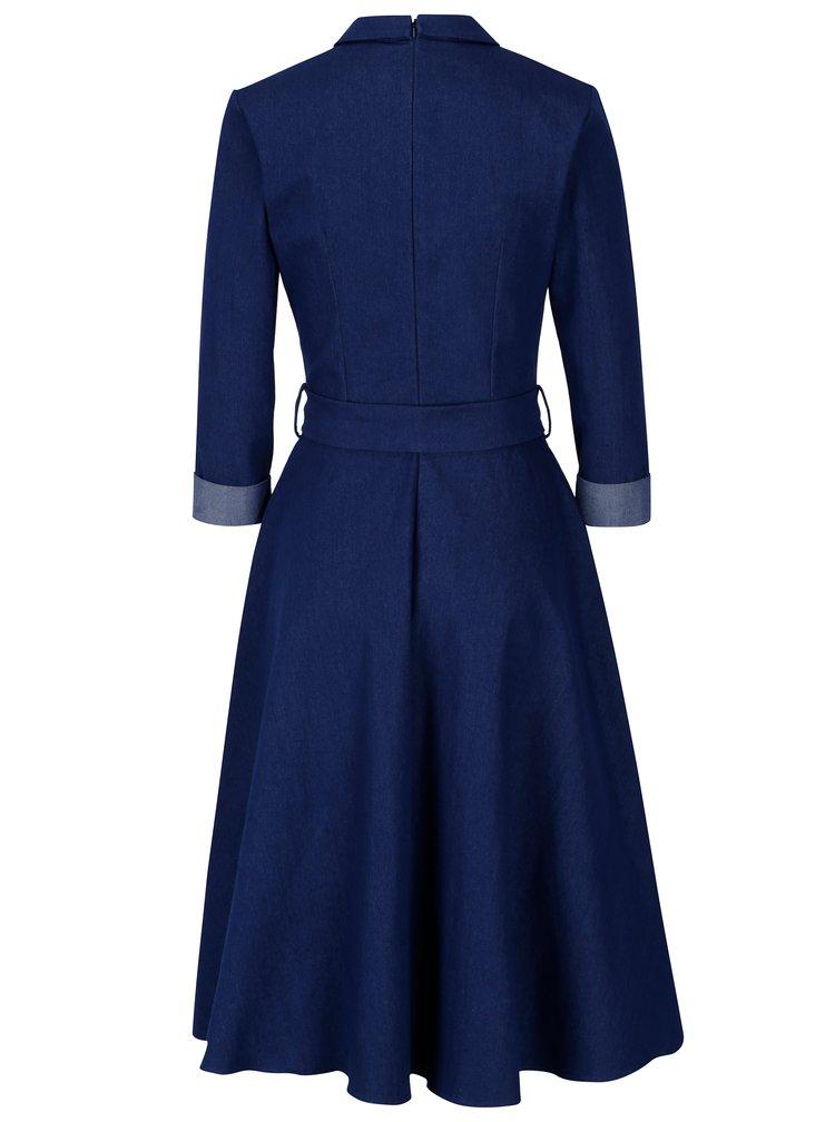 Modré džínové šaty s 3/4 rukávem NISSA