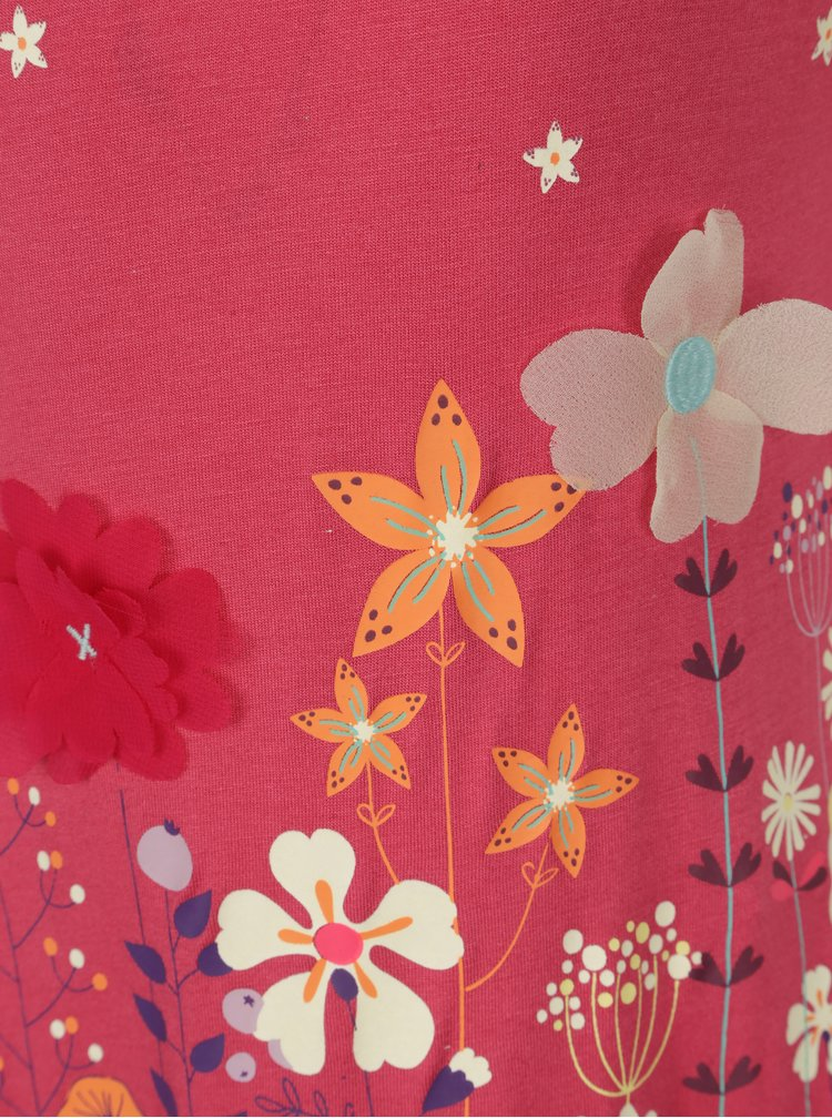Růžové holčičí šaty s potiskem a volány BÓBOLI