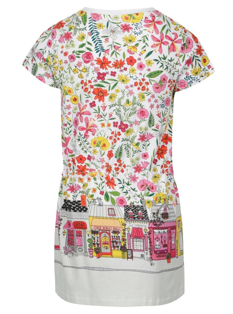 Bílé holčičí květované šaty s potiskem BÓBOLI