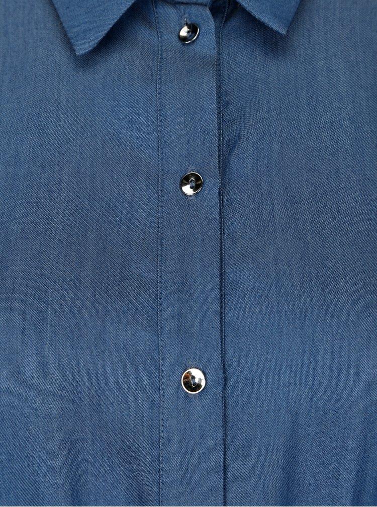 Modré košilové maxišaty s volány NISSA