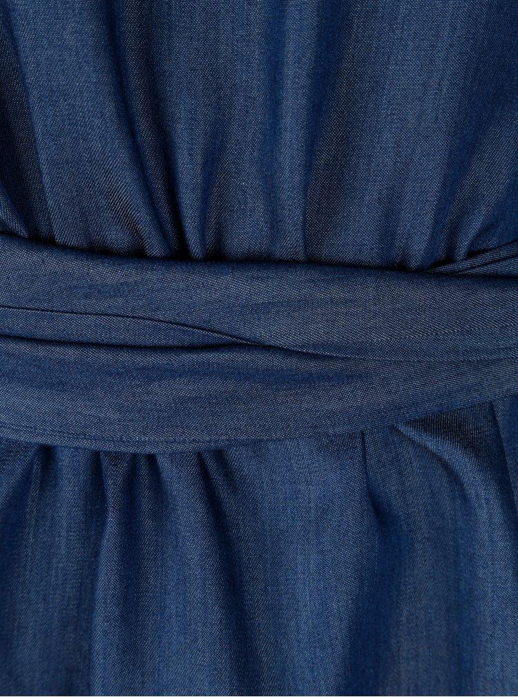 Modrá halenka se zavazováním v pase NISSA