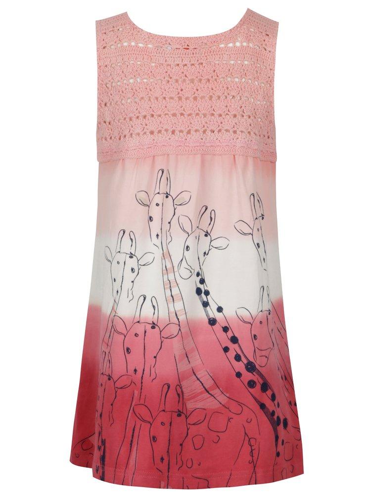 Růžové holčičí šaty s potiskem BÓBOLI