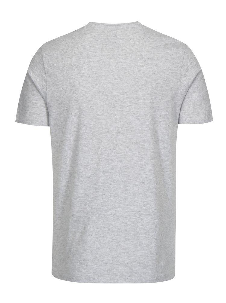 Šedé žíhané tričko s potiskem Jack & Jones Face