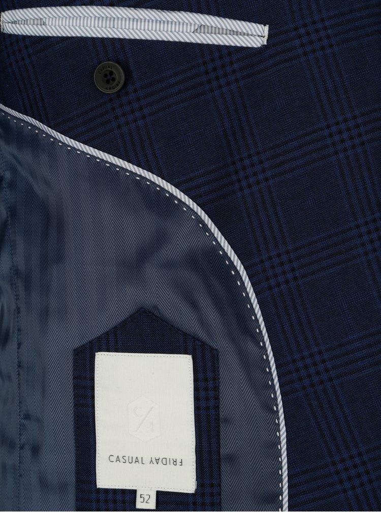 Tmavě modré kostkované slim fit sako Casual Friday by Blend