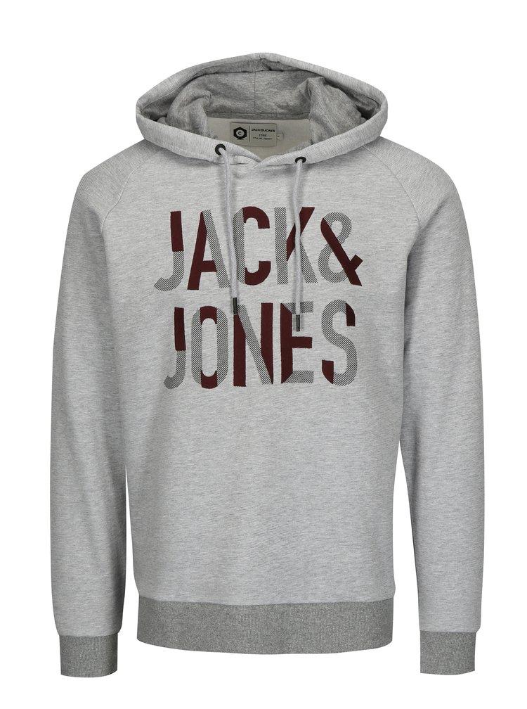 Světle šedá žíhaná mikina s kapucí Jack & Jones Caden