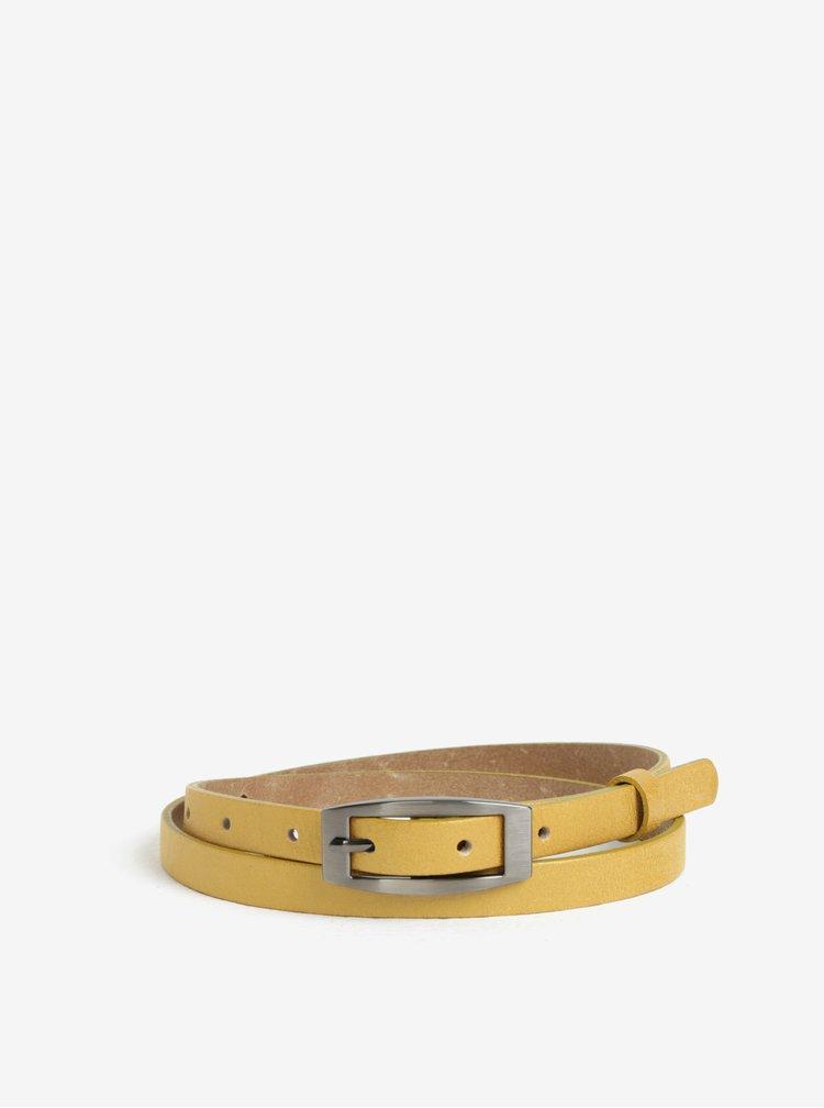 Žlutý dámský úzký kožený pásek KARA