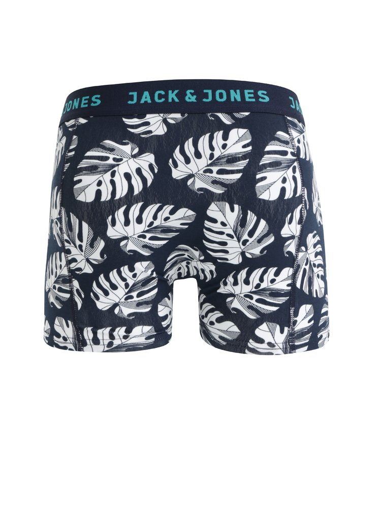 Sada tří boxerek v modré, černé a vínové barvě Jack & Jones Leaf