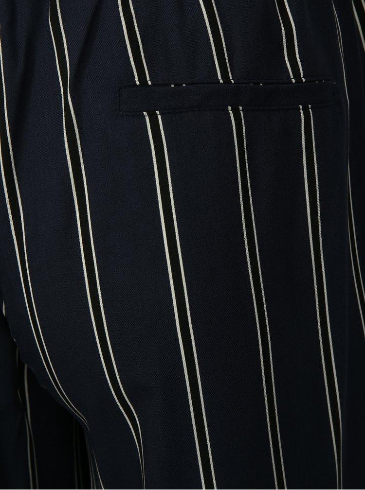 Tmavě modré pruhované volné kalhoty Ulla Popken