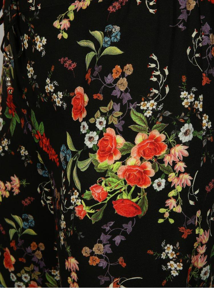 Černé květované volné kraťasy Ulla Popken