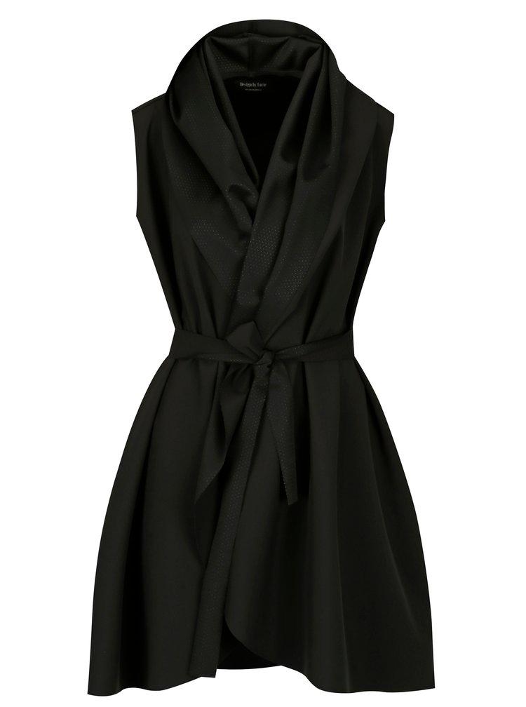Černé voděodolné šaty se zavinovacím efektem Design by Lucie Jack