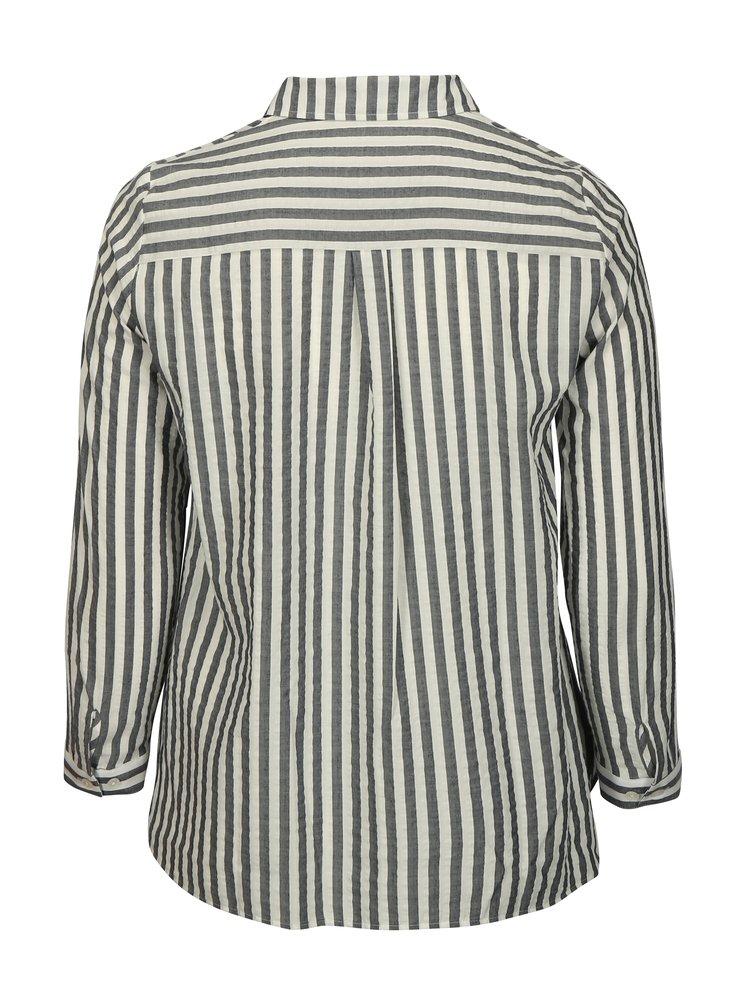 Krémovo–modrá pruhovaná košeľa Ulla Popken