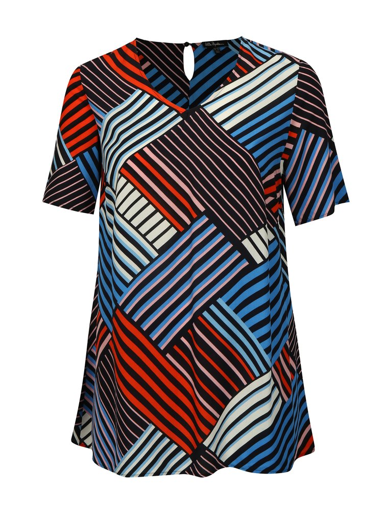 Červeno-modrý vzorovaný top Ulla Popken