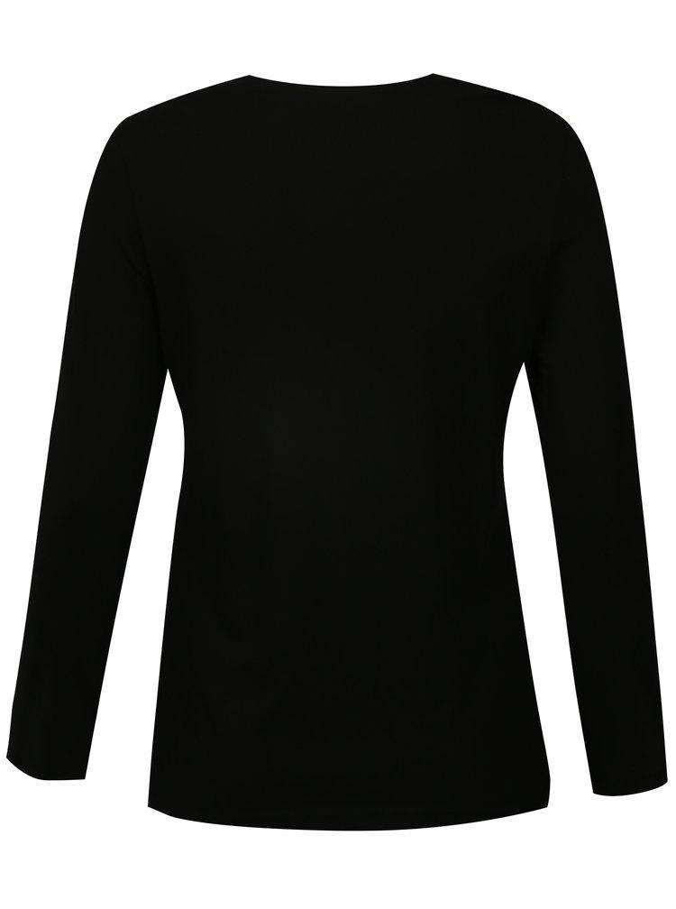 Černé tričko s dlouhým rukávem Ulla Popken