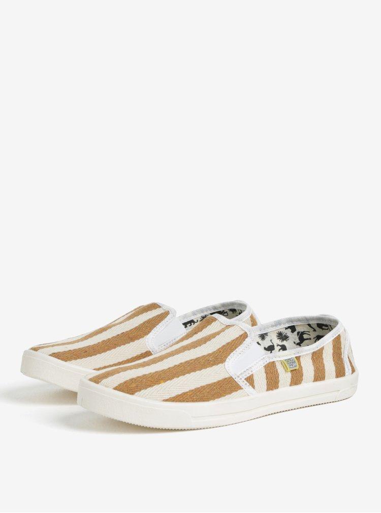 Pantofi slip on bej cu dungi maro pentru barbati - Oldcom Etno