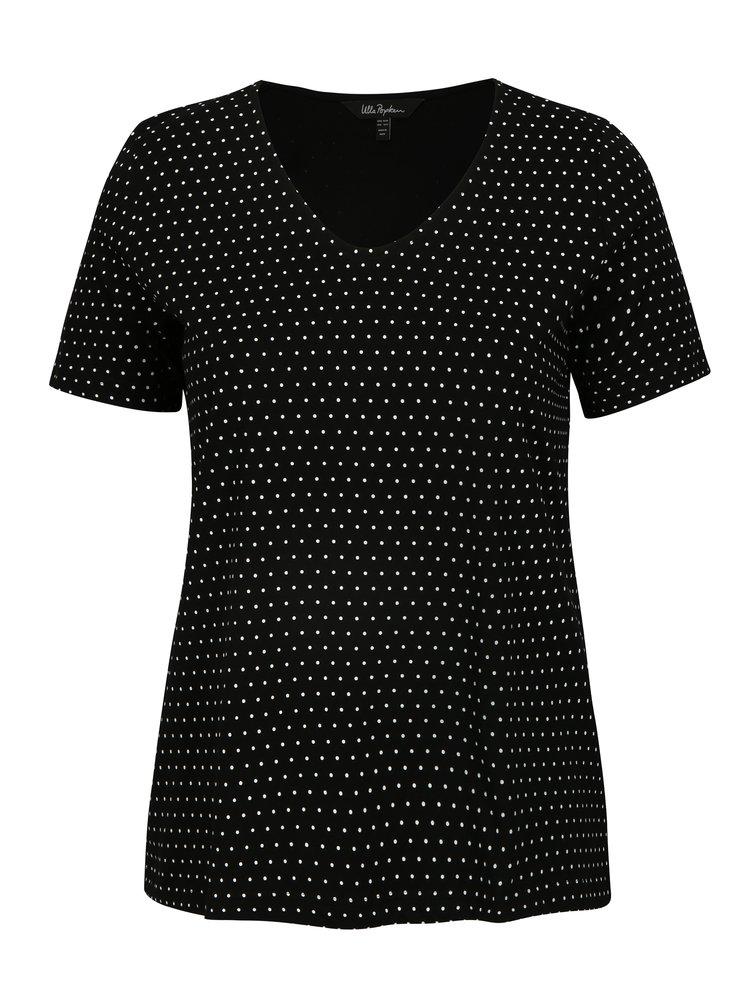 Černé puntíkované tričko Ulla Popken