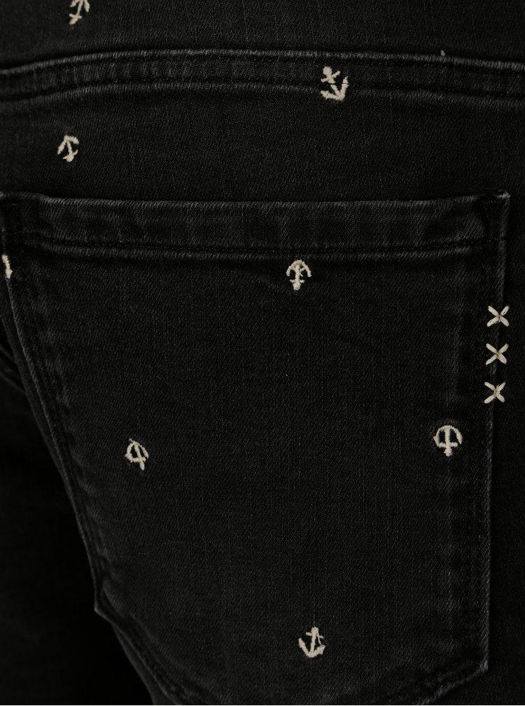 Tmavě šedé džínové kraťasy s motivem kotev Scotch & Soda