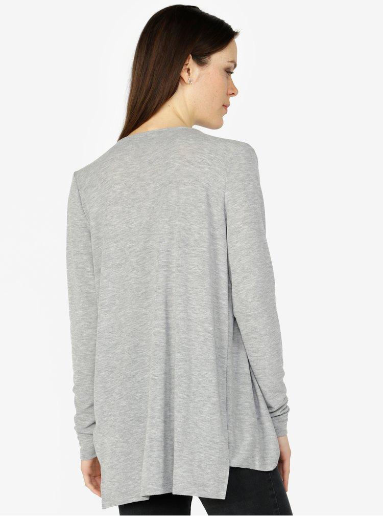 Světle šedé tričko s překládaným předním dílem VERO MODA Luna