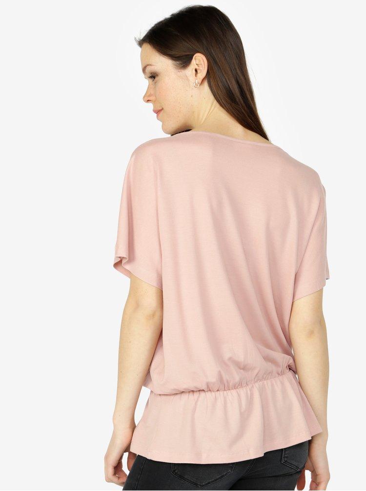 Starorůžové oversize tričko s gumou v pase VERO MODA Costa
