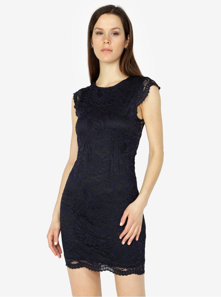 Tmavě modré krajkové šaty VERO MODA Sandra