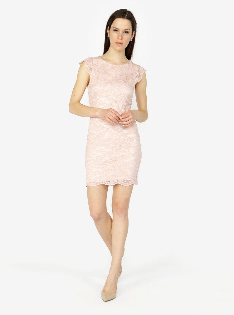 Starorůžové krajkové šaty VERO MODA Sandra