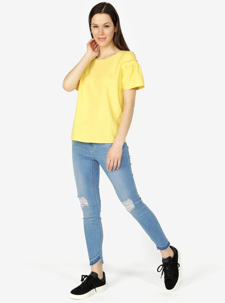 Žluté oversize lněné tričko se zvonovým rukávem VERO MODA Asta