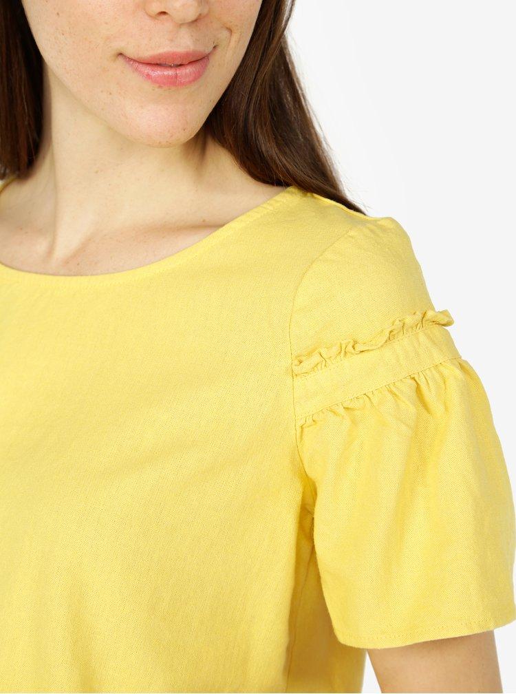 Žluté lněné tričko se zvonovým rukávem VERO MODA Asta