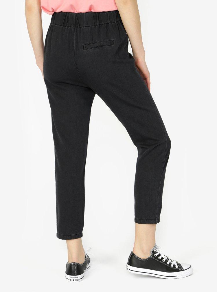 Tmavě šedé zkrácené kalhoty s vysokým pasem VERO MODA Indy