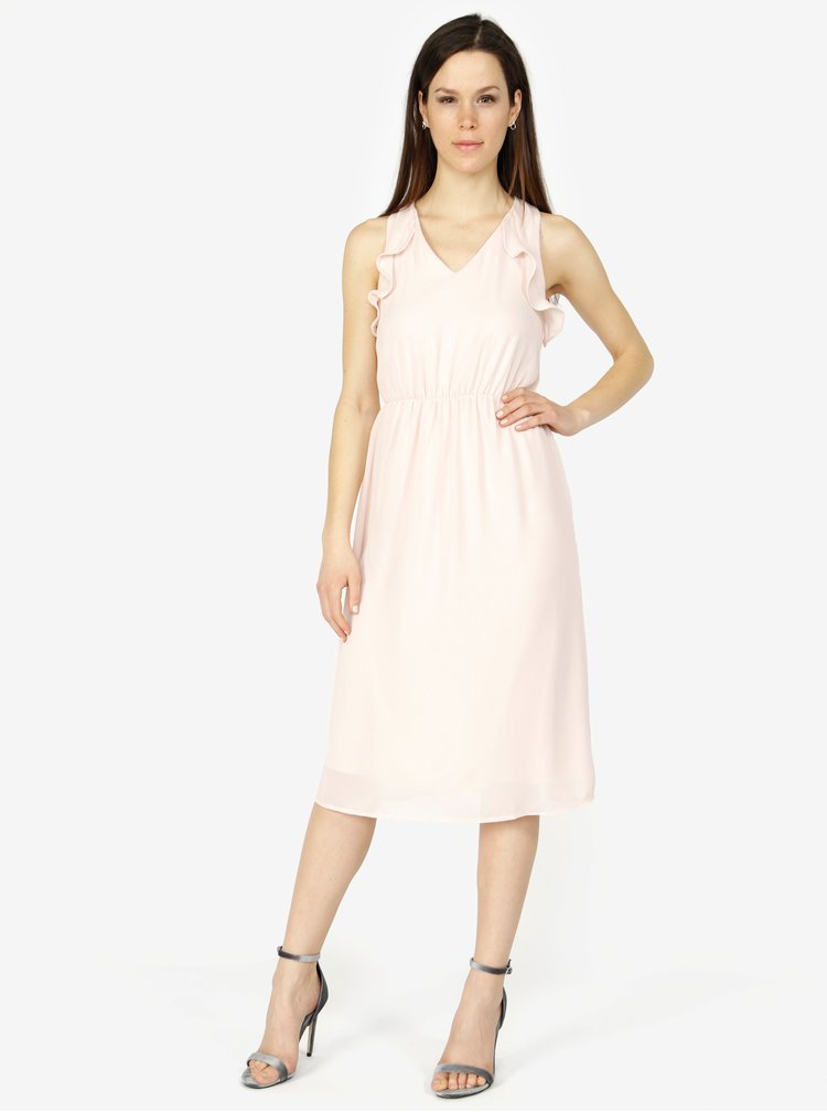 Světle růžové šaty s volány VERO MODA Iris