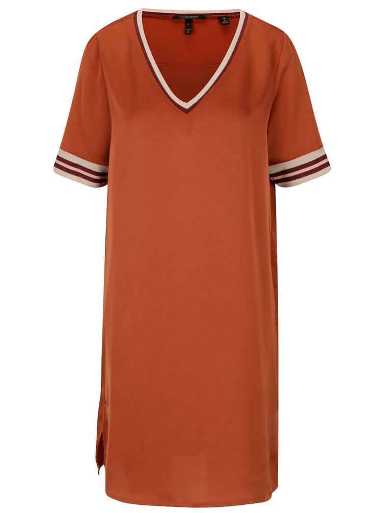 Oranžové volné šaty s véčkovým výstřihem Scotch & Soda