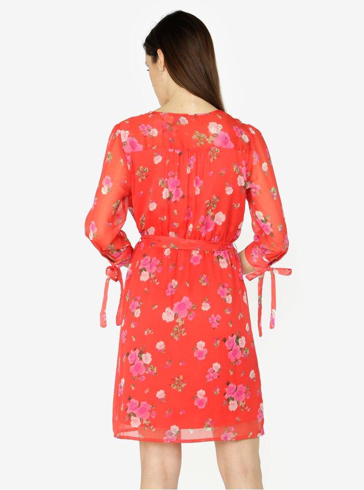 Červené květované šaty s 3/4 rukávem VERO MODA Lili mini