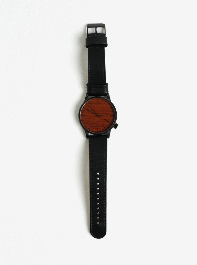 Hodinky s čierným koženým remienkom Komono Winstor