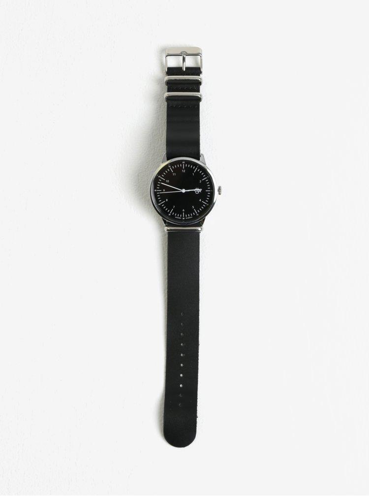 Ceas unisex negru cu curea din piele Harold CHPO