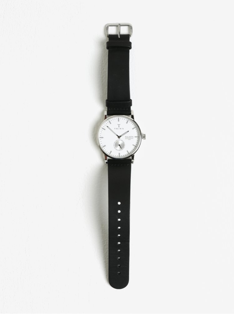 Pánské hodinky ve stříbrné barvě s černým koženým páskem TRIWA Ivory Falken