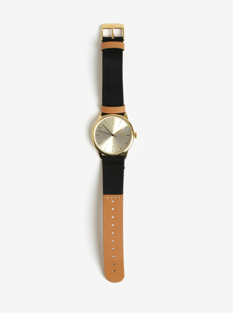 Unisex hodinky ve zlaté barvě s páskem z veganské kůže CHPO Rawiya Classic Gold
