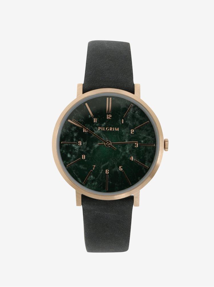 Pozlacené hodinky v růžovozlaté barvě s koženým páskem Pilgrim