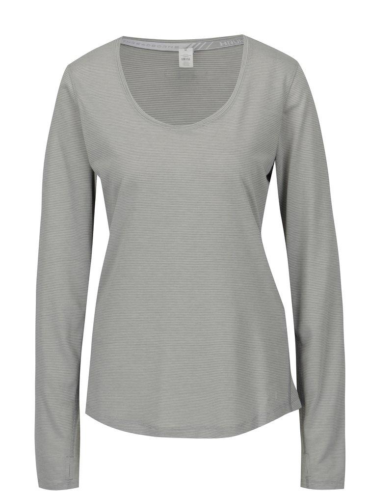 Šedé dámské pruhované fukční tričko Under Armour Streaker