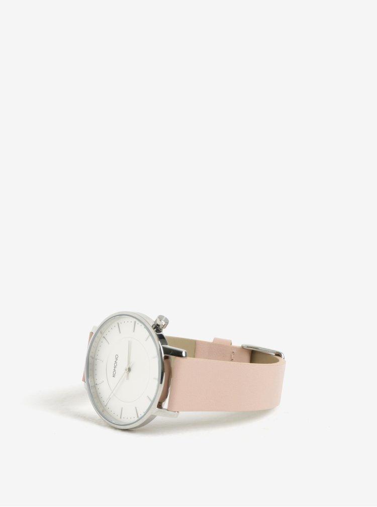 Dámské hodinky ve stříbrné barvě s růžovým koženým páskem Komono Harlow