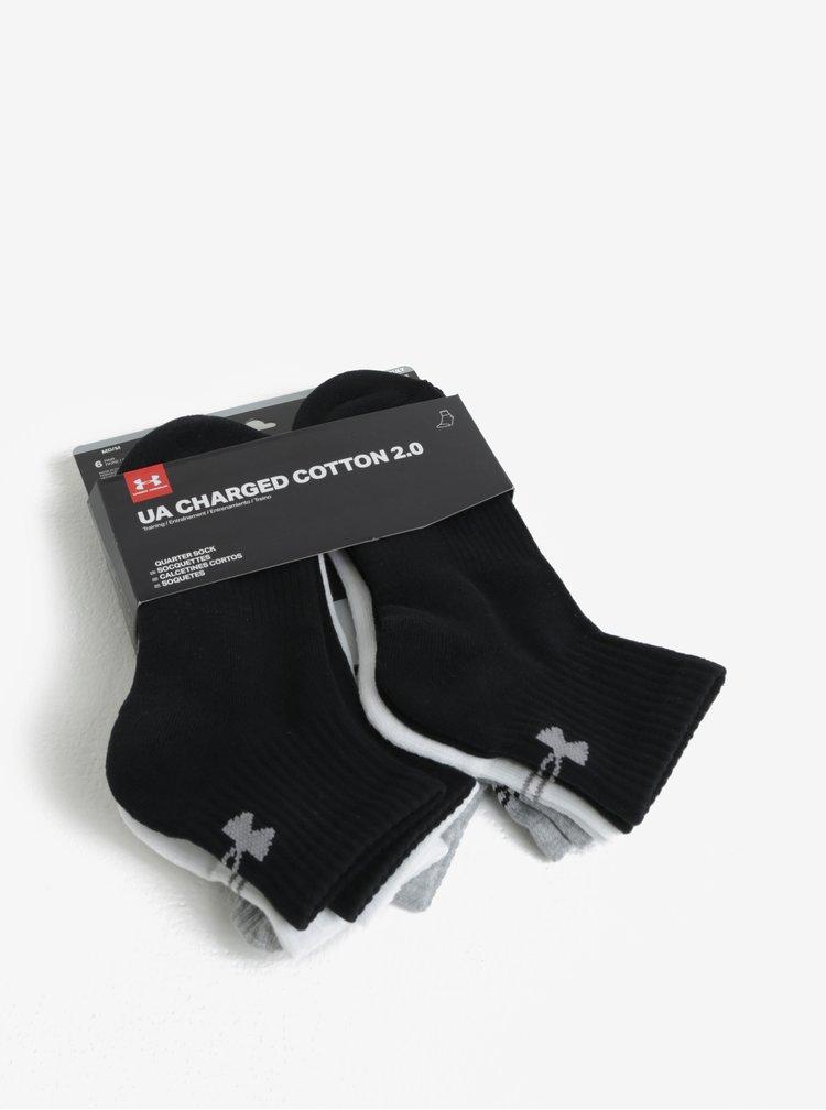 Súprava šiestich párov unisex ponožiek v čiernej, bielej a sivej farbe Under Armour Quarter
