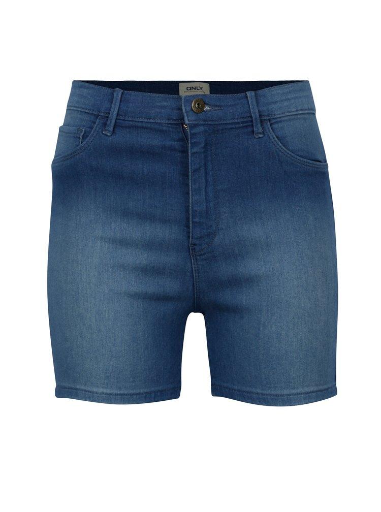 Modré džínové kraťasy s vysokým pasem ONLY Rain