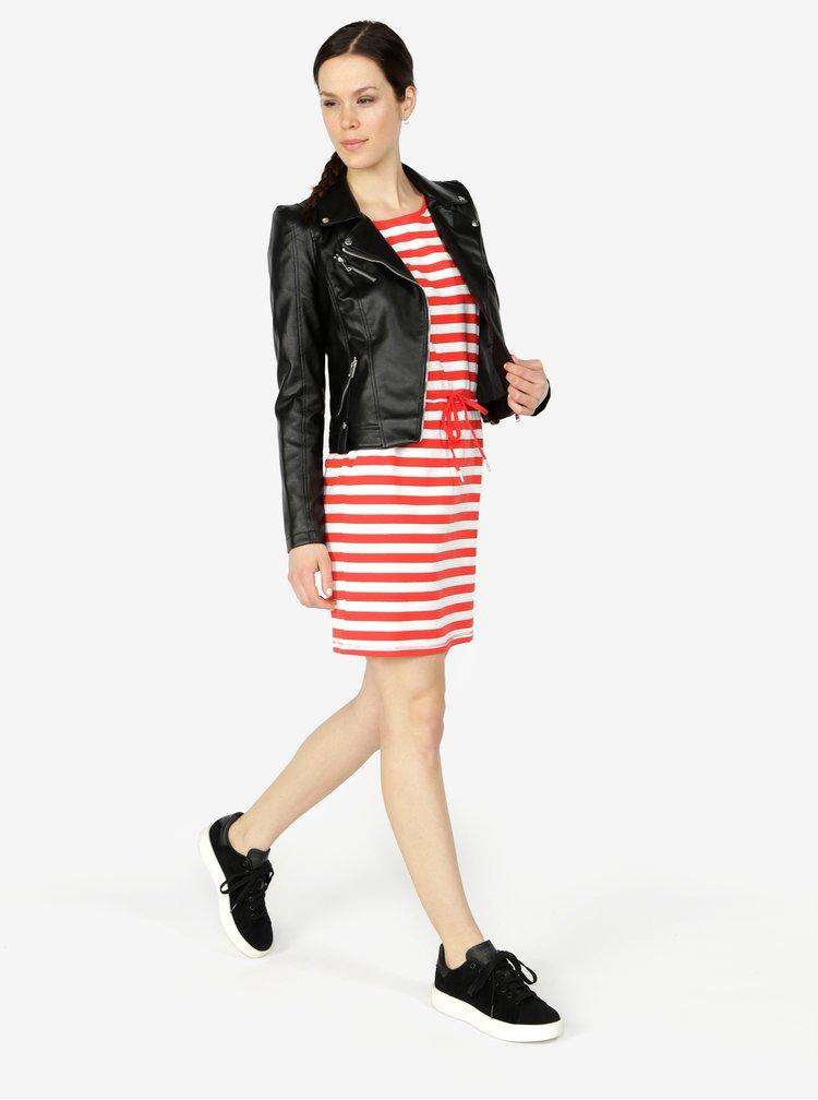 Červené pruhované šaty s krátkým rukávem ONLY Amber