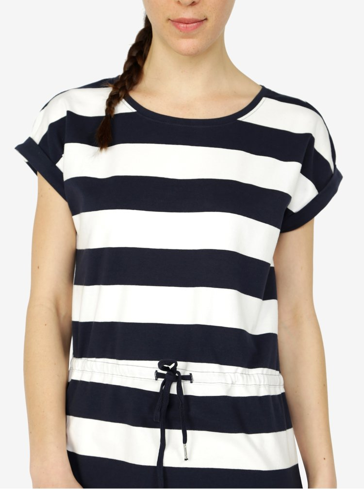 Modro-krémové pruhované šaty s krátkým rukávem ONLY Amber