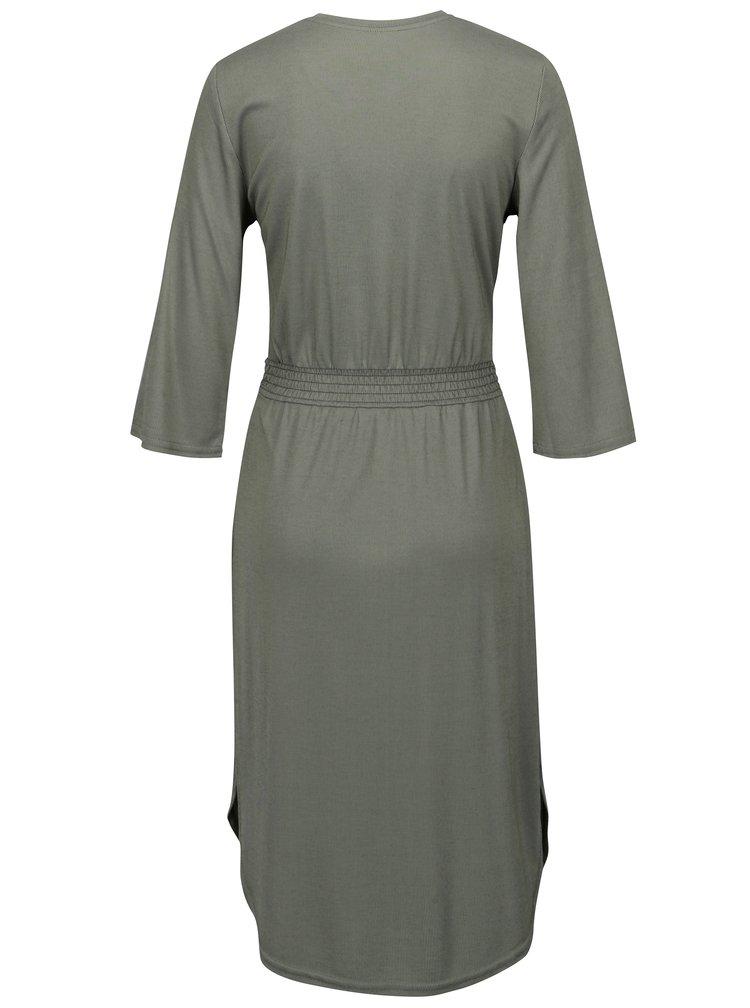 Světle zelené žebrované šaty s páskem Jacqueline de Yong Ban