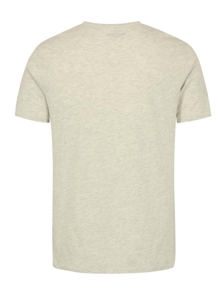 Světle šedé žíhané tričko s potiskem ONLY & SONS Sylvester